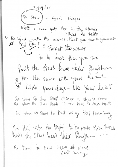 Go Slow - Handwritten Lyrics