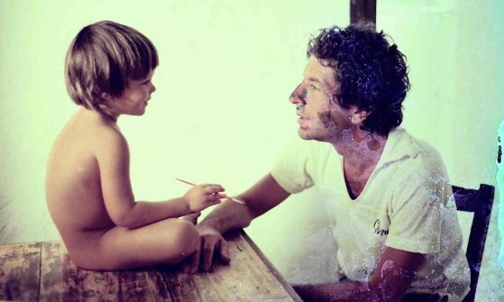 Leonard Cohen with his young Son Adam.